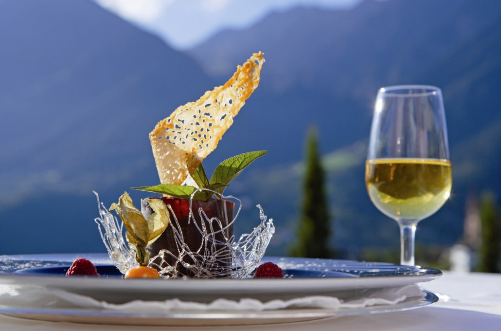 Regional and modern cuisine in the Hotel Tyrol, Italy