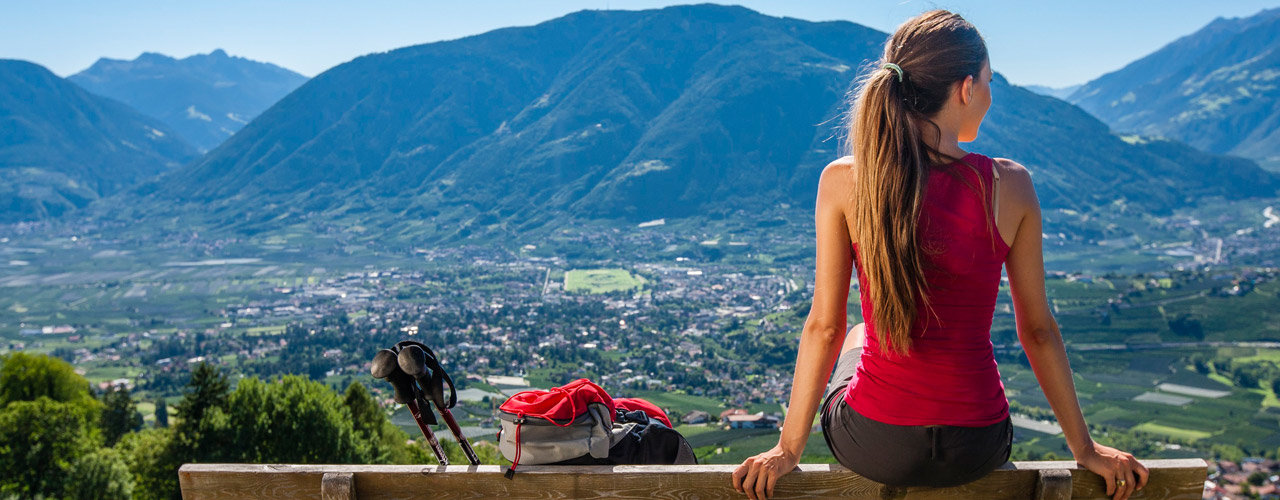 Hiking in Schenna with view over Meran, South Tyrol