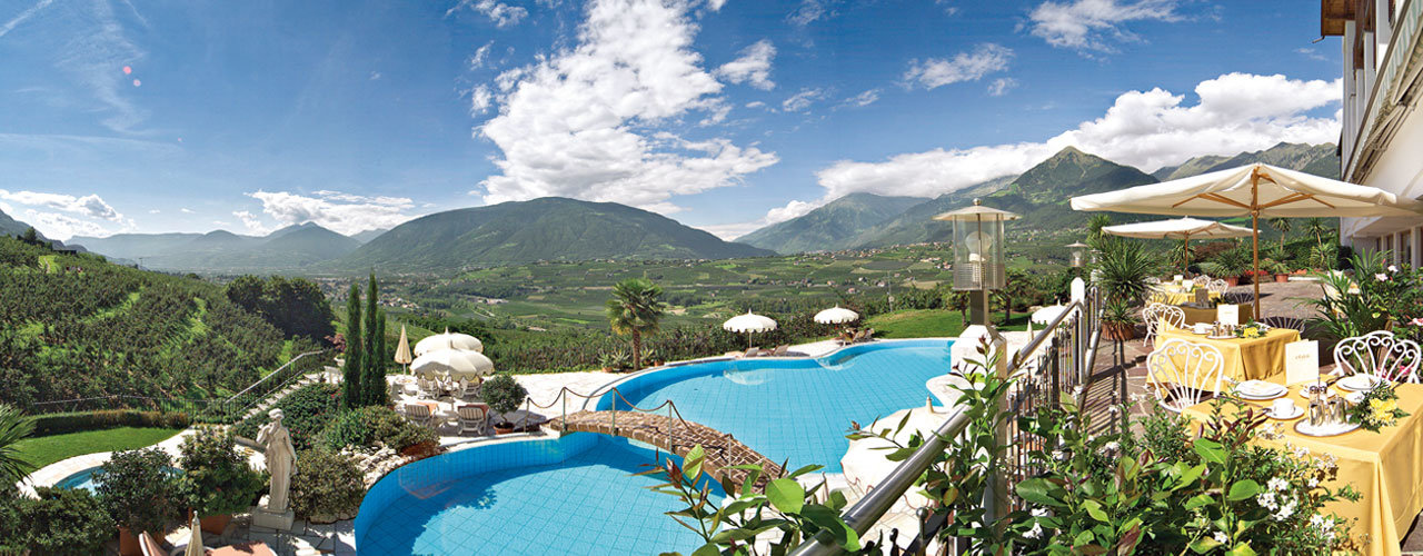 Pool of the Hotel Tyrol in Schenna near Meran, Italy