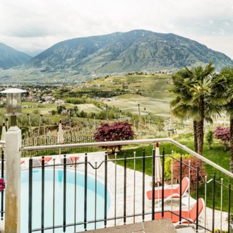 Outdoor pool with wonderful view at the Merano mountain world.