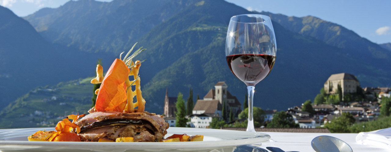 Regional cuisine in the Hotel Tyrol in Schenna, Italy