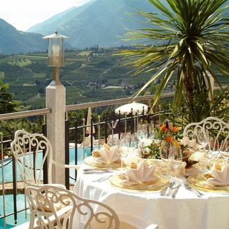 Terrace of the Hotel Tyrol in Schenna, South Tyrol